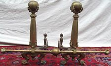 MONUMENTAL ANTIQUE CHIPPENDALE BALL & CLAW FIREPLACE ANDIRON SET W/ FENDER BAR