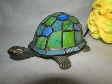 TIFFANY STYLE TURTLE STAINED GLASS WITH METAL TABLE DESK LAMP