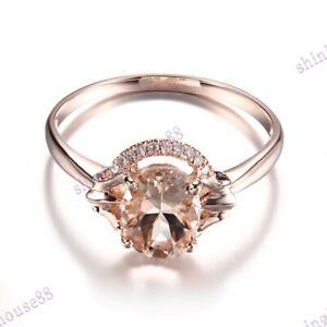 1.4CT Oval 8X6mm Morganite Round SI/H Diamonds Wedding Gift Ring 14K Rose Gold