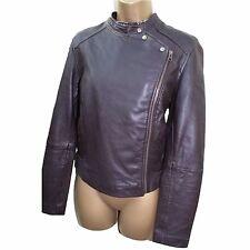 Monsoon Dark Brown Butter Soft Leather Biker Style Jacket 10 UK