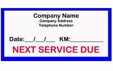 100 x Custom Text Next Service Due, Diecut vinyl adhesive sticker decal 70x35mm