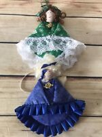 Green Blue Dolls Angel Fabric Dolls w/hard Head Christmas Ornaments Set of 2