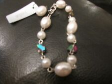 Silver plated bracelet faux pearl metal chain link 9 inch white beads costume