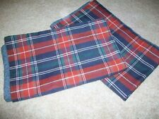 PAIR OF VILLAGER LIZ CLAIBORNE STANDARD PILLOW SHAMS BLUE RED GREEN PLAID