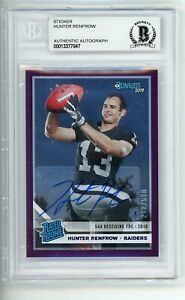 2019 Panini Donruss Rated Rookie Purple /500 RC Signed Hunter Renfrow Auto BAS