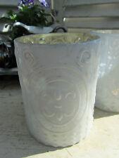 Windlicht Teelicht-Glas Bauernsilber weiß shabby Vintage