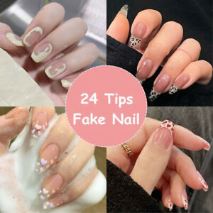 24pcs Press On Nails Glue Gel On False reusable Fake French Nail Tip solid color