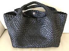 NWT-FALOR La Borse ITALY~BLACK  Hand Woven Intrecciato Leather Tote #7349 -XL