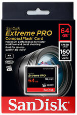GENUINE SanDisk Extreme PRO 64GB 160MB/S UDMA 7 COMPACT FLASH CF MEMORY CARD 4K