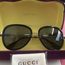Gucci GG0062S 001 Black Gold Metal Aviator Sunglasses Gold Mirror Lens 57mm