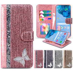 Luxury Wallet Flip Leather Diamond Phone Case For Samsung S20 FE S10 S9 S8 Cover