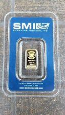 Gold Bar 1 gram Sunshine Mint Bar SMI plastic assay package USA Gold 2008
