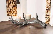 Kerzenhalter Kerzenständer GEWEIH naturgetreu Silberschattierungen Alpen Hütte