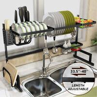 Over Sink 2 Tire Dish Drying Rack Drainer Kitchen Utensil Cutlery Holder Shelf
