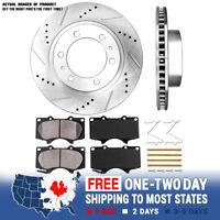 Front Drill And Slot Brake Rotors & Ceramic Brake Pads For 4Runner Tacoma 6 Lug