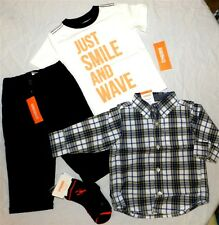 Pant Outfit Gymboree 5pc Navy Lined Plaid Shirt Tee Boy size 12/18 month New