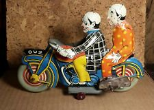 """RARE Vintage Mettoy   8.5""""   OU2 Clown Motorcycle   Works   Excellent Condition"""