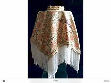 Vintage Victorian Glass Beaded Fringed Fabric Hurricane Lamp Cover Shade Antique