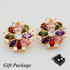 Gift Package Grace Marquise Teardrop Cubic Zircon Gold Plated Lady Stud Earrings