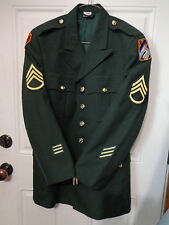 US Army Mens Staff Sgt. Class A Dress Green Uniform Coat 39R Unit/Combat Patch