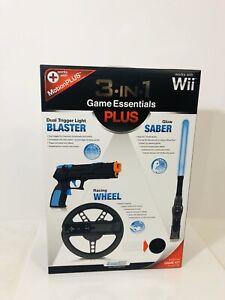 Nintendo Wii 3 In 1 Game Essentials Plus Wheel Saber And Blaster