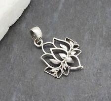Lotus Blüte Blume Hippie Bohemian Design Amulett Anhänger 925 Sterling Silber