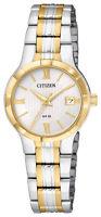 Citizen Quartz Women's Roman Numerals Gold Tone Accents 25mm Watch EU6024-59A
