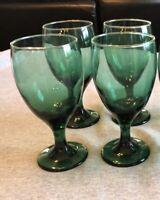 Set of 4 Vintage Arby's Green Glass Goblets Libbey Gold Rim Wine Water Stemmed