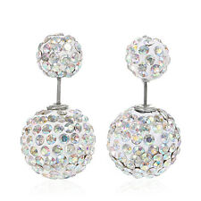 Sexy Sparkles Clay Earrings Double Sided Ear Studs Round Pave AB Rhinestone W/ S