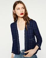 Zara Navy blue bloggers favourite Tweed Blazer Boucle jacket Sz L