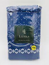 Ralph Lauren Kennebunkport Blue King Pillowcases Bandana Paisley New Navy White