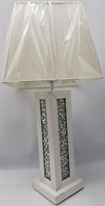 White Table Lamp Mirrored Sparkly Silver Diamond Crush Square Large