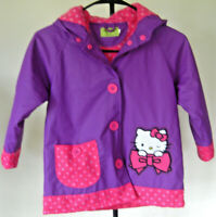 EUC Girl's HELLO KITTY Wink Hooded Coat Size 5 Pink Purple Sanrio Polyester