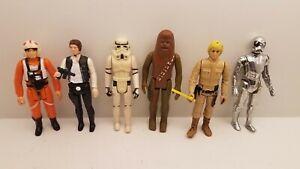 Vintage Kenner Star Wars Action Figure lot of 6 1977 Han Solo Luke Skywalker  #1