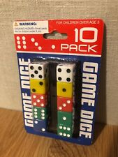 Pack of 10 Round Edge Opaque Small Dice - Colored with White Pips