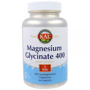 KAL, Magnesium Glycinate 400, 400 Mg, 90 Tablets