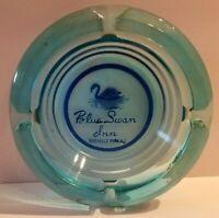 Vintage Blue Swan Ashtray German Restaurant Rochelle Park NJ Blue Glass RARE