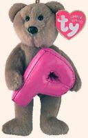 """TY Alphabet Beanies Letter P Bear 6""""...NEW"""