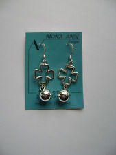 Sterling Silver Iron Cross With Ball Dangle Hook Earrings New