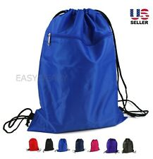 Drawstring Backpack Zippered Pocket Sport Gym Waterproof Cinch Sack Pack Bag