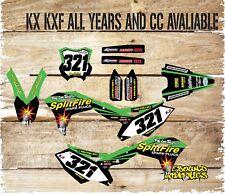 KAWASAKI KX KXF 65 85 125 250 450 Motocross Completo De Gráficos Pegatinas-Calcomanías-Split