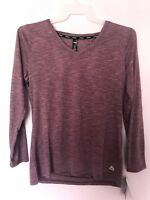 RBX  Active wear Athletic Long Sleeve V Neck Top Shirt Lilac Open Back  NWT