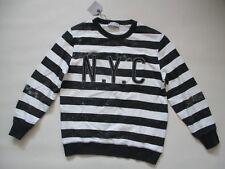 NWT Zara Boys Collection Dark Gray Stripe Distressed Print Sweatshirt Top 11/12