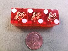 "#24 of 30, Lot Of 3 Red/White Casino Dice, All For The ""Orleans,"" Gold Alligator"