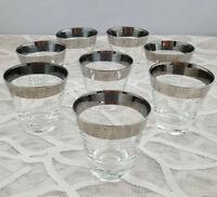 Dorothy Thorpe Era Mid Century Modern Silver Band Shot Glasses Set Of Eight MCM