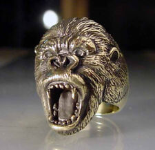 Bronze Wild Gorilla Biker Ring Custom Size Handmade King Kong Monkey MC R-33b