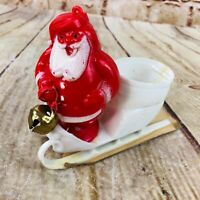 vtg Santa on white Sleigh Plastic Christmas Decoration Tiny treat candy cup