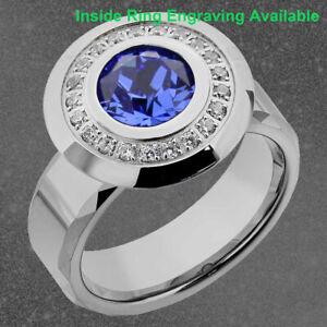 Tungsten Stainless Steel Blue Round Simulated-Sapphire Men's Wedding Band