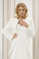 New Women Wedding Ivory / White Faux Fur Bridal Jacket Coat Sizes UK 8 10 12 14