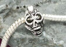 STERLING SILVER BEAD EUROPEAN CHARM FOR BRACELET A265 skull head scary ghost
